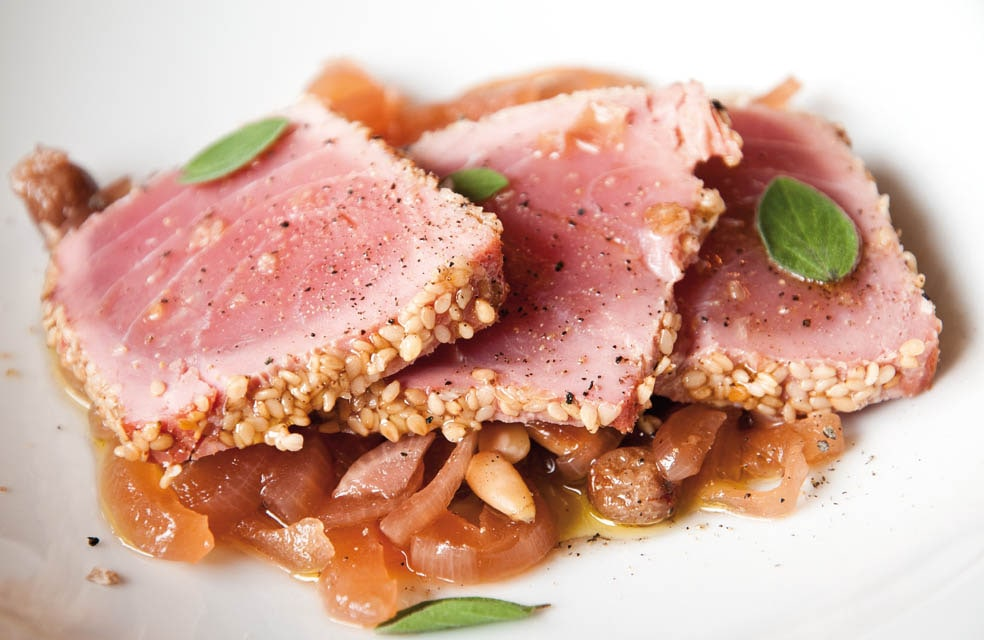 Uinauino restaurant - smoked tuna with aromatic herbs served with aubergine orange honey and peperoncino compote