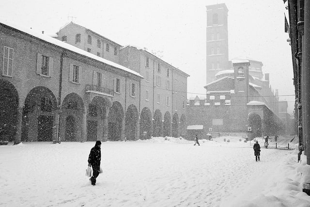 Piazza Verdi, Bologna under the snow