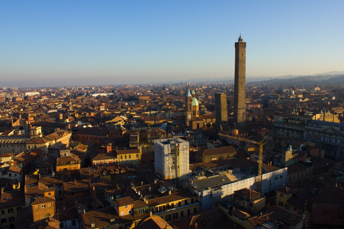 Bologna two towers from Torre Prendiparte