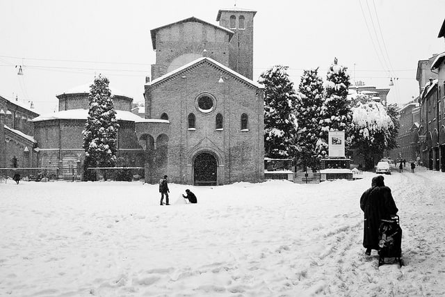 Piazza Santo Stefano, Bologna under the snow