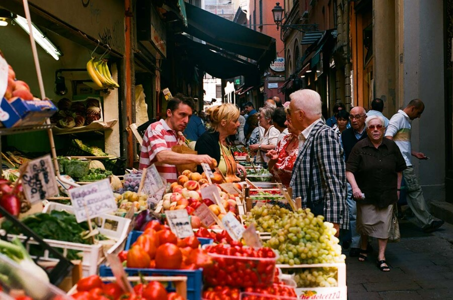 Italy food market bologna quadrilatero