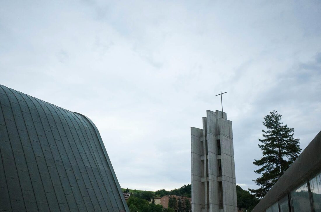 Alvar Aalto church in Riola, Bologna - bell tower
