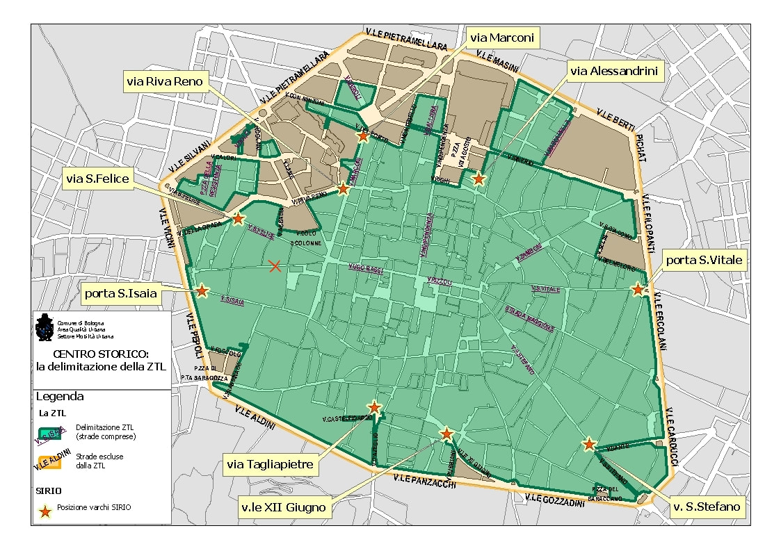 ZTL map Bologna
