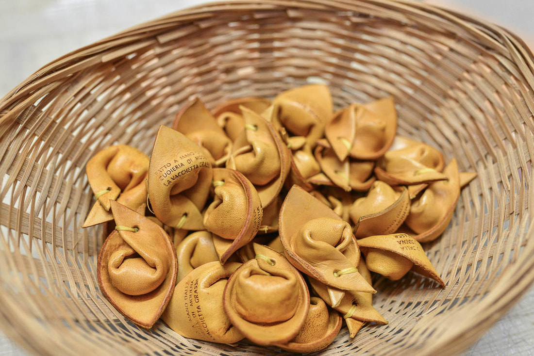 Original souvenirs from Bologna - leather tortellino