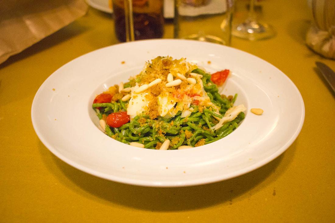 Trattoria di Via Serra Bologna - Chitarra spaghetti with codfish