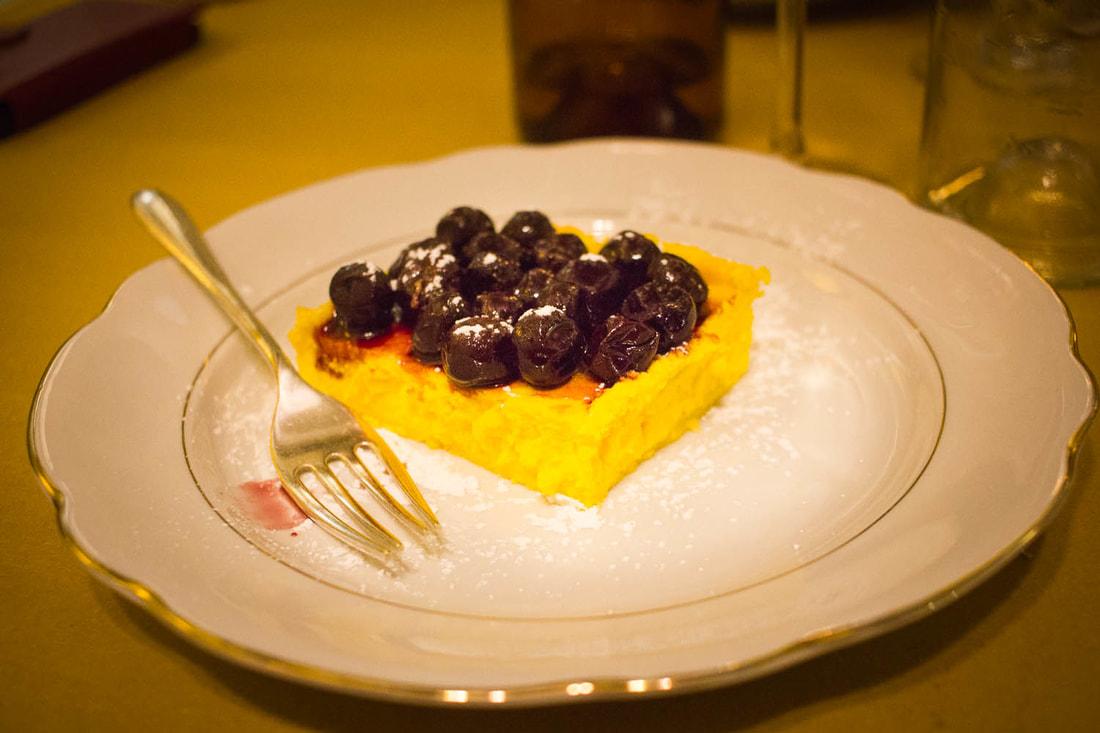 Trattoria di Via Serra Bologna - Ricotta cheesecake with visciole cherries