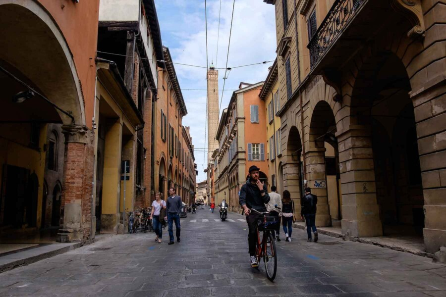 Bologna cycling two towers
